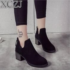 2d95f38305d 2019 women s shoes thick with ankle boots women s autumn and winter cotton  boots with Martin boots female frosted boots women