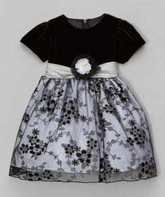 Look what I found on #zulily! Black Glitter Embroidered Dress - Infant, Toddler & Girls #zulilyfinds