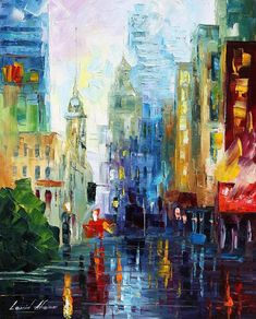City After The Rain — Palette Knife Colorful Cityscape Oil Painting On Canvas By Leonid Afremov. Size: X Inches cm x 60 cm) City Painting, Oil Painting On Canvas, Canvas Paintings, Rain Painting, Painted Canvas, Hand Painted, New York Painting, Painting Classes, Painting People