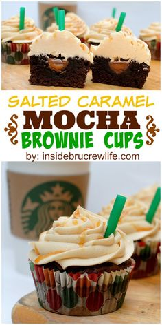 Salted Caramel Mocha Brownie Cups - mocha brownies with a hidden caramel Hershey kiss and topped with a salted caramel butter cream Brownie Recipes, Cupcake Recipes, Baking Recipes, Cupcake Cakes, Dessert Recipes, Dessert Ideas, Salted Caramel Frosting, Salted Caramel Mocha, Salted Caramels