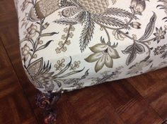 Antique Footstool - Very nice antique foot stool with brand new upholstery.   Item 21043-37.  Price $95.00    - http://takeitorleaveit.co/2015/01/28/antique-footstool/
