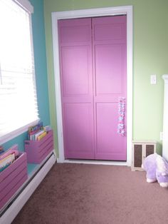 painted closet doors and fun pallet looking book cases