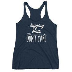 Jogging Hair Don't Care Women's Racerback Tank #racerback #jogging #running #giftideas