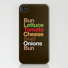 silly typographic burger iphone case