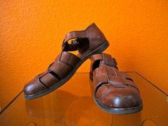 Vintage 80's Designer COLE HAAN Men's Retro Prep Hipster Fisherman Leather Sandals Size 9 1/2 US on Etsy, $50.00