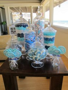 blue candy table - I would like to do this in pink may for sweet sixteen party! Idee Baby Shower, Baby Shower Themes, Baby Boy Shower, Baby Shower Decorations, Shower Ideas, Baby Shower Candy Table, Frozen Baby Shower, Baby Shower Buffet, Babyshower Candy Bar
