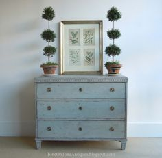 """Gustavian blue-gray painted chest... """"It is a classic Swedish Gustavian chest in many ways: the leaf-tip trim, clean lines, and 3 graduated drawers."""""""