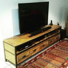 Industrial TV table, with lots of shelf space to keep all your devices   #Industrial #Furniture #Dubai #AbuDhabi #UAE #wood #steel  #home #interior #design #theatticdubai