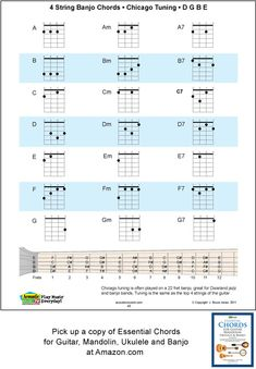 4 string banjo chords for Chicago Tuning, D, G, B, E