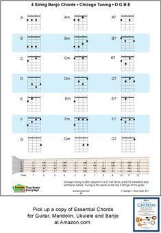 4 string banjo chords for Chicago Tuning, D, G, B, E