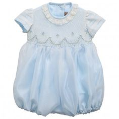 Torres Pale Blue Organza Bubble Suit with Hand Smocking at Childrensalon.com