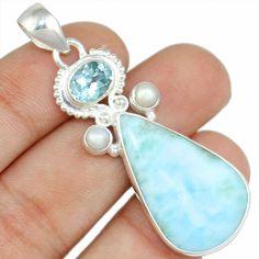Larimar & Pearl 925 Sterling Silver Pendant Allison Co Jewelry Sp-2155 #Allisonsilverco