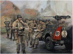 El Major Dick Winters y los hombres de la Easy Company, 101st Airborne Division, toman posiciones en Carentan el 14 de Junio de 1944, ocho días después de su dramático lanzamiento en paracaidas sobre Normandía, el Día-D.