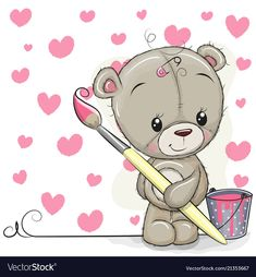 Teddy Bear with brush is drawing a hearts. Cute Teddy Bear with brush is drawing a hearts stock illustration Teddy Bear Sketch, Teddy Bear Drawing, Cute Bear Drawings, Cute Disney Drawings, Tatty Teddy, Cute Cartoon Images, Cute Images, Cute Pictures, Baby Bear Tattoo