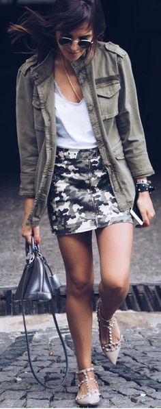 #spring #summer #street #style #outfitideas |Cool Military Street Style