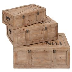 Set of 3 wood trunks with number accents.  Product: Small, medium and large trunkConstruction Material: Wood and...