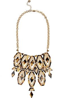 Tory Burch Gold-plated brass, acetate links necklace. The links are hinged for flexibility. Inspired by Art Deco shapes.   NET-A-PORTER