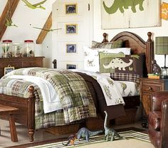 Anderson Bedroom Set, Tuscan #PotteryBarnKids  Boys room conversion? Love Dino print above bed!