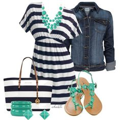 navy and white striped dress, denim jacket, turquoise sandals, turquoise accessories, navy/white MK purse Cruise Attire, Cruise Wear, Turquoise Sandals, Turquoise Accessories, Mode Collage, Summer Outfits, Casual Outfits, Dress Outfits, Navy And White Dress