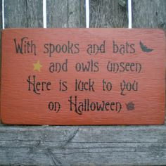 Primitive Wood Halloween Sign