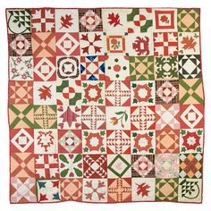 """Friendship Sampler Quilt ,This unique Sampler Quilt has both traditional and original blocks, many with hearts as an indication of the affection with which it was made. Written in ink it says """"Presented by Lydia H Rounsavell April 5th, 1846"""". Several other blocks have inked signatures. The bad news is that we do not the occasion or for whom it was made."""