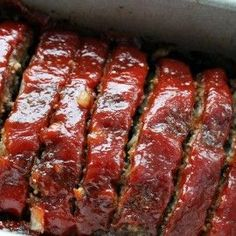 Classic Meatloaf Recipe...just like Mom used to make. Ground Beef, Onion, Oatmeal or crushed crackers. Ketchup, Brown Sugar, Mustard glaze on top. Comfort Food Perfection!
