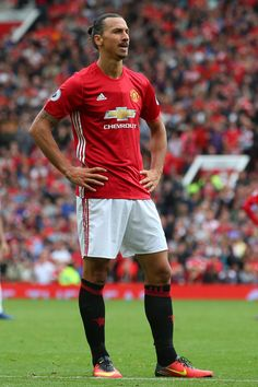 Zlatan Ibrahimovic of Manchester United looks on during the Premier League match…