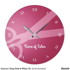 Scissors | Deep Pink & White | Hair Salon Square Wall Clock -- Deep pink wall clock with a pair of scissors, white roman numerals, and the option to add your name or the name of your business.