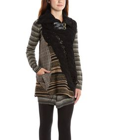 Love this Black & White Stripe Wool-Blend Tunic & Sweater Vest - Women by La-El Couture on #zulily! #zulilyfinds