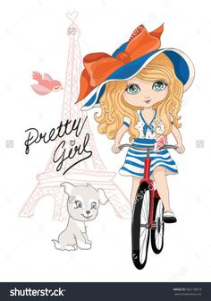 cute girl vector/T-shirt print/Book illustrations for children/Romantic hand drawing poster/cartoon character/For apparel or other uses in vector/Eiffel tower and girl with bicycle Disney Frames, Paris Girl, Bicycle Girl, Animal Coloring Pages, Illustration Girl, Doll Face, S Pic, Girl Cartoon, Cartoon Characters