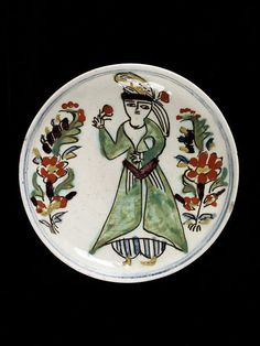 Plate, fritware, polychrome painted decoration of a Turkish female figure, Turkey (Kütahya), Middle Eastern Art, Ancient Near East, Turkish Tiles, Flower Spray, National Art, The V&a, Stone Mosaic, Victoria And Albert Museum, Islamic Art