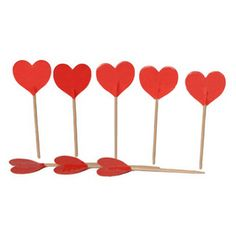 Hearts Cocktail Picks, Cupcake Toppers, Party Decoration