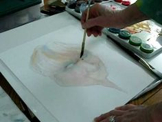painting a portrait in watercolor, establishing the eyes and mouth video # 2 of 4