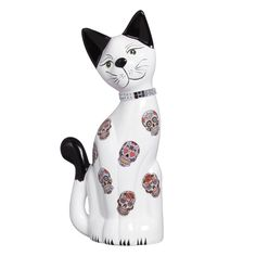 Gato Grande Estatueta de Cerâmica. Valorize a decoração da sua casa com essa linda peça decorativa.