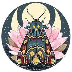 Polytela: The Moon Art Print by fezbaker Posca Marker, Illustrations, Illustration Art, Guache, Butterfly Art, Butterflies, Moon Art, Art Inspo, Art Drawings