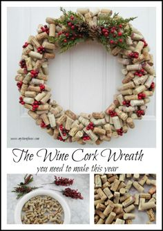 The Wine Cork Wreath you need to make this year.  Our favorite and best Christmas Wreath