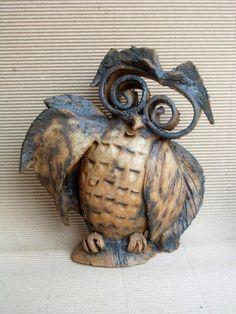 Cute wise owl  home decor Owl Ceramic Sculpture  by DeepSilence