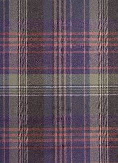Crimond Lambswool Fabric 100% Lambswool, Tartan Upholstery fabric. A fine tartan, In greys, purples and Pinks.