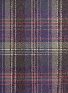 Crimond Lambswool Fabric 100% Lambswool, Tartan Upholstery fabric. A fine tartan, In greys, purples and Pinks.