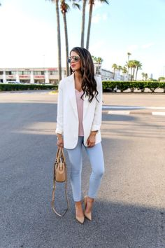 Spring Work Wear Outfit. Spring Work Outfit. Work Outfits for Spring Season. White Blazer. Cream Blazer for Work. Blue Dress pants. Light blue dress pants. Dress pants for Spring. Pastel colors for Spring. #workwear #workoutfits #springoutfit