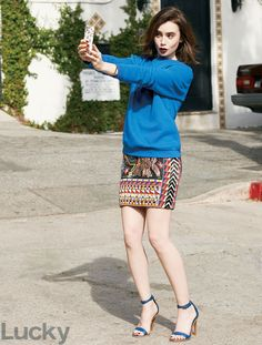 Lily Collins' clothes and outfits. Find out where to buy everything Lily Collins wore.