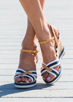 Stripe wedge, Wedge Sandal, Summer shoes, Wedges, online boutique - Modern Vintage Boutique