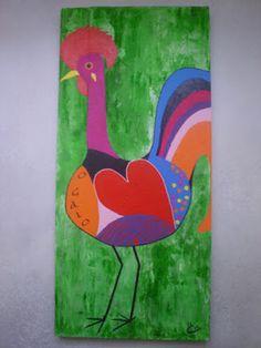O Galo De Português, acryl op hout, 40x86, 2012