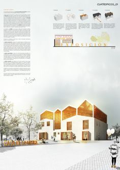 'Cuatropicos' by SMXL architects On the issue of representation try to convey a clear message. use a graphic that enhances the generating idea of the project and be understood at a glance . We tried the palette is limited and use the main color in both schemes, plans and info-graphics believe that facilitates the reading and assimilation of the content. Thus we propose that architecture is not just for architects but citizens also get the message and get involved.