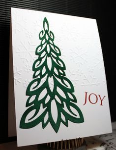 Easy Peasy Christmas Cards 53 uses the Dee's Distinctively Dies - Christmas Tree No 3 - IME-024 on Green Velveteen.