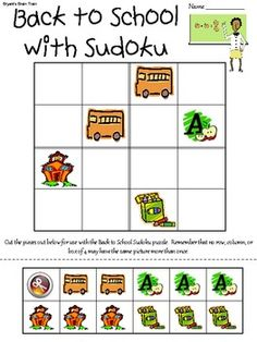 Here's a back to school themed picture sudoku puzzle.