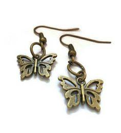 butterfly earrings small butterfly bronze by Uniquenessgemz