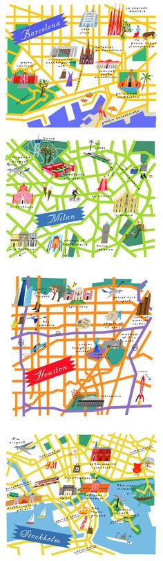 Lena Corwin - maps od Barcelona, Milan, Houston and Stockholm Travel Maps, Travel Posters, Travel Illustration, Design Graphique, Map Design, City Maps, Design Thinking, Plans, Rifle Paper