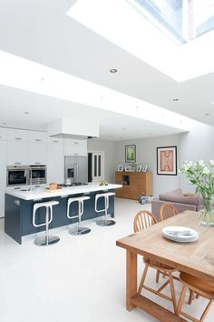Like bold colour of Island, double ovens and huge stainless steel fridge