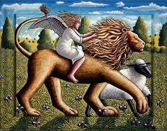 The Lion, the Lamb and the Angel, 2007 by P.J. Crook